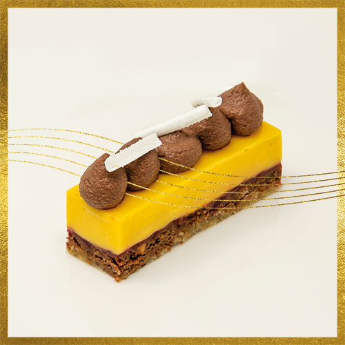 Petit entremets chocolaté mangue/passion au confit de framboises écrasées